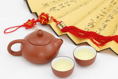 Tea , Chinese knots , fans Royalty Free Stock Images