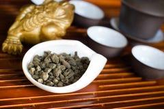 Tea chinese in macro. Chinese tea in pile macro Royalty Free Stock Photo