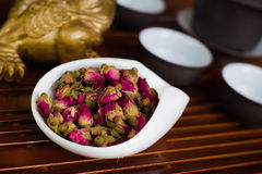 Tea chinese on wooden desk. Chinese tea in white cup Stock Photos