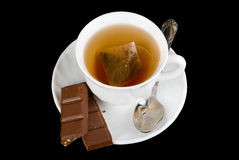 Tea and chocolate Royalty Free Stock Images