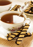Tea with chocolate cookies Royalty Free Stock Image