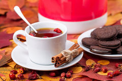 Tea with chocolate cookies on a background of autumn leaves Stock Photo