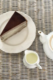 Tea with chocolate crape cake Royalty Free Stock Images