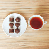 Tea chocolate. Good morning chocolate phone effect smell white Tea coffee Royalty Free Stock Photography