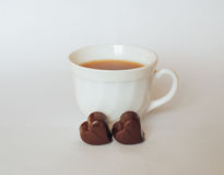 Tea chocolate. Good morning chocolate phone effect smell white Tea coffee Royalty Free Stock Images