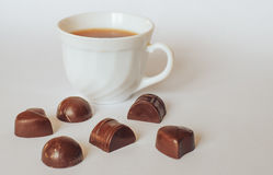 Tea chocolate. Good morning chocolate phone effect smell white Tea coffee Stock Images