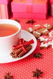 Tea and christmas cookies Stock Photo
