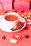 Tea and christmas cookies. Holiday concept Stock Photography