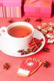 Tea and christmas cookies Stock Photography