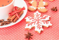 Tea and christmas cookies Stock Images