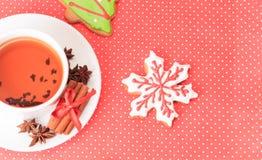 Tea and christmas cookies Stock Image