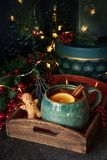 Tea with christmas decoration and gift stock photography