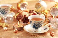 Tea for Christmas with sweet cookies Royalty Free Stock Photography