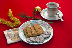 Tea and Chrsitmas Biscuits Royalty Free Stock Image