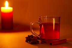 Tea cinnamon and star anise at candle light Stock Photography
