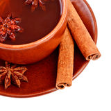 Tea with cinnamon sticks and star anise Stock Photo