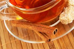 Tea with cinnamon and sugar Royalty Free Stock Images