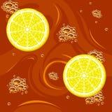 Tea and citrus seamless Stock Photos