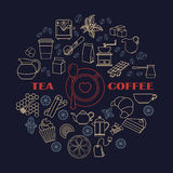 Tea and coffe icons round composition stock illustration