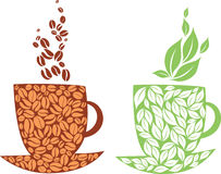 Tea or coffee. Concept of coffe and tea cups Royalty Free Stock Photo