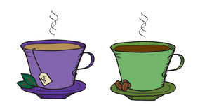 Tea and coffee. Doodle of two cups of coffee and tea stock illustration