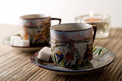 Tea Coffee. Relaxing cups of coffee or tea with Japanese  motif Stock Photo