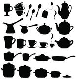 Tea, coffee ans pot sets Stock Photos