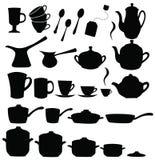 Tea, coffee ans pot sets Stock Photos