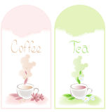 Tea and coffee banners. With flowers Stock Photos