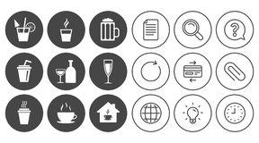 Tea, coffee and beer icons. Alcohol drinks. Royalty Free Stock Images