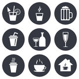 Tea, coffee and beer icons. Alcohol drinks Stock Image