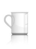 Tea or coffee cup. Simple shiny white tea or coffee cup isolated on white for use on samples of logo  or text fit Royalty Free Stock Photography
