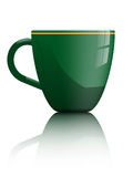 Tea or coffee cup. Simple shiny green tea or coffee cup isolated on white for use on samples of logo  or text fit Stock Images