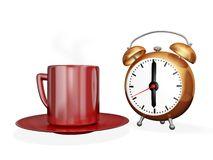 Tea Coffee Cup and Alarm Clock Stock Images