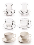 Tea - coffee cup set with clipping path Stock Photography