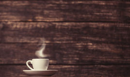 Tea or coffee cup. On wooden table Stock Photo