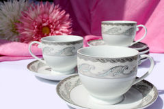 Tea and coffee cups stock photography