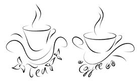 Tea and coffee cups. Two cups written tea and coffee below Stock Images