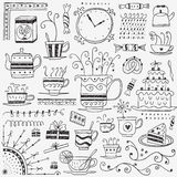 Tea and coffee cups doodles Royalty Free Stock Image