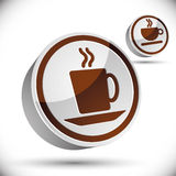 Tea and coffee cups icons. Stock Photos