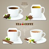 Tea and coffee cups set Stock Images