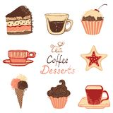 Tea, coffee and dessert icons. Ornate drinks, confectionery elements and hand-drawn text for your design Stock Photo