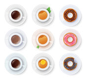 Tea and coffee with donuts Royalty Free Stock Images