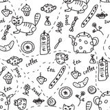Tea and coffee doodle seamless Stock Photos