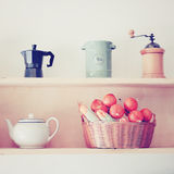 Tea and coffee equipment in kitchen with retro filter Royalty Free Stock Photography