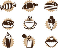 Tea coffee and food icons set. Tea coffee and sweet food icons set Stock Images
