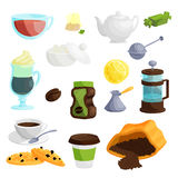 Tea and coffee icons set, cartoon style Royalty Free Stock Images