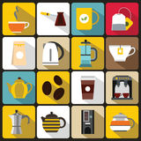 Tea and coffee icons set, flat style Stock Image