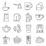 Tea and coffee icons set, outline style Royalty Free Stock Image