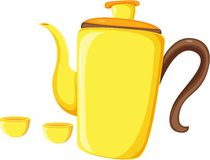 Tea coffee kettle and mugs Stock Photography
